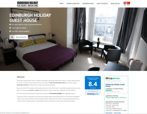 EH Web Works portfolio - Edinburgh Holiday Guest House