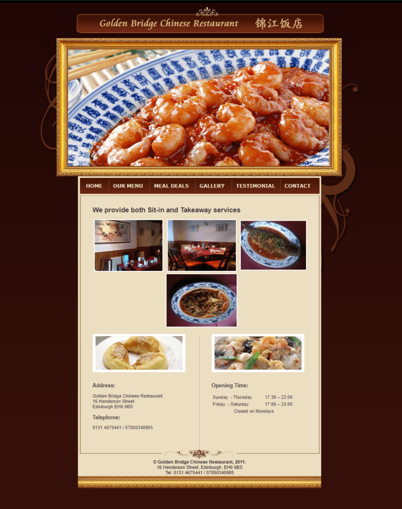EH Web Works portfolio - Golden Bridge Chinese Restaurant