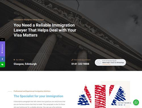 EH Web Works portfolio - Pryde Immigration Lawyer